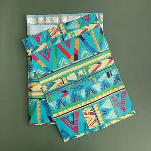 100 10x13 Poly Mailers Blue Geometric